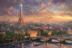 """Introducing """"Paris, City of Love"""" from the Thomas Kinkade Vault  The Thomas Kinkade Vault presents a romantic vision of Paris. Find yourself strolling with someone you love down its streets or through this... #thomaskinkade #paris #love"""