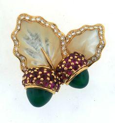 CHRISTIAN DIOR C.1990 18K GOLD CLIP BROOCH RUBY DIAMOND CHRYSOPHRASE ACORN