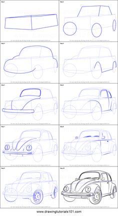 How to Draw Vintage Volkswagen Beetle step by step printable drawing sheet to print. Learn How to Draw Vintage Volkswagen Beetle Car Drawing Easy, Car Drawing Pencil, Cool Car Drawings, Pencil Art Drawings, Art Drawings Sketches, Easy Drawings, Perspective Drawing Lessons, Perspective Art, Volkswagen Beetle Vintage