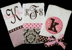 Set of 3 Burp Cloths - Pink/Brown