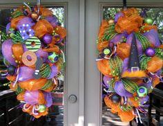 Deco Mesh Wreath Ideas halloween -