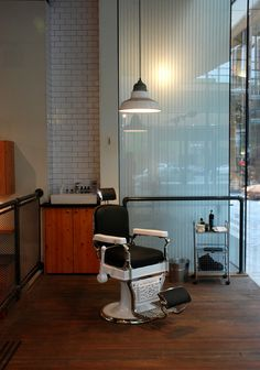 The VICTORY BARBER & BRAND: INTERIOR by Caste is located in Victoria, British Columbia, Canada. This area here is dedicated for hot shaves. The shop has six chairs...