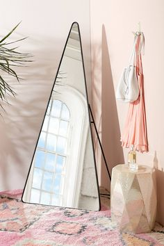 Shop Triangle Standing Mirror at Urban Outfitters today. We carry all the latest styles, colors and brands for you to choose from right here. Cooler Spiegel, Mirrors Urban Outfitters, Sweet Home, Cool Mirrors, Standing Mirror, Décor Boho, My New Room, Home Decor Accessories, Decoration