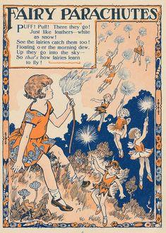Vintage fairies - Dandelion Flowers Are Fairy Parachutes Vintage Illustration Fairy Tale Art Print Vintage Fairy Digi Fairy Land, Fairy Tales, Fairy Quotes, Pomes, Dragons, Vintage Fairies, Fairytale Art, Flower Fairies, Children's Book Illustration
