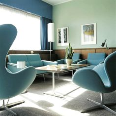 """This is """"Room 606"""" inside the Radisson SAS Royal Hotel in Copenhagen, Denmark. Danish architect Arne Jacobsen designed the entire hotel from the exterior facade down to the interiors and furnishings including the now ubiquitous swan and egg chairs (which he designed specifically for this hotel)."""