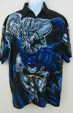 MENS BATMAN JOKER WARNER BROS 2001 DC COMICS BUTTON DOWN CASUAL CAMP SHIRT LARGE #Batman #Hawaiian