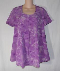 Simply Vera Wang Scoop Neck Tunic Top XS Purple White Short Sleeve Tie Dye Look #SimplyVeraWang #Tunic #Career