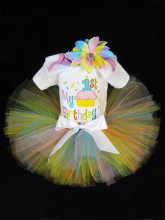 Babys 1st Birthday Outfit - Babys Gift Set - My 1st Birthday - Girls Tutu Bodysuit and Beanie Set - Size 24 Months $38