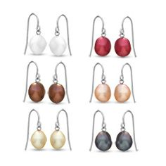 Honora 7.0 - 8.0mm Multi-Color Baroque Cultured Freshwater Pearl Earring Set in Sterling Silver