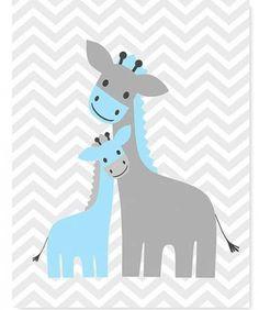Giraffe Nursery Art Chevron Gray and Blue by SweetPeaNurseryArt Giraffe Nursery, Nursery Art, Nursery Decor, Scrapbooking Image, Image Deco, Baby Sleepers, Nursery Neutral, Baby Prints, Cute Drawings
