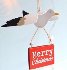 Hanging seagull decoration.Merry christmas. Shoeless joe.Nautical coastal