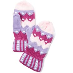 Easyshine Pink & Purple Chevron Mittens ($7.99) ❤ liked on Polyvore featuring accessories, gloves, pink gloves, mitten gloves, purple gloves and purple mittens