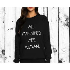 All Monsters Are Human Sweatshirt Shirt Zombie ($18) ❤ liked on http://www.queenapparel.com featuring tops, hoodies, sweatshirts, shirts, sweatshirt, black, unisex adult clothing, loose tops, checked shirt and check pattern shirt