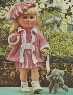 Dolls Clothes PDF Knitting Pattern : Dolly 14 and 17 inch high . 4 Ply . Instant Digital Download by PDFKnittingCrochet on Etsy