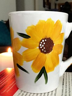 Your place to buy and sell all things handmade Hand Painted Mug Sunflower Mug Gift Idea by DesignCandyCreations Painted Coffee Mugs, Hand Painted Mugs, Hand Painted Ceramics, Pottery Painting Designs, Pottery Designs, Diy Mug Designs, Paint Designs, Ceramic Painting, Diy Painting