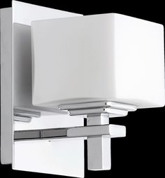 View the Quorum International 5665-1 1 Light Bathroom Sconce with Frosted Glass Square Shade at LightingDirect.com.