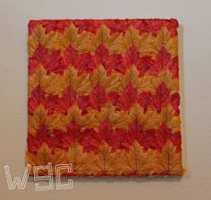 """Wayward Girls' Crafts: Fall Leaves """"Canvas"""" Art for $1. Take an old shoebox lid and use it as a canvas. Then glue on fabric leaves from the Dollar Store! So smart! #fall #falldecor #cheapfalldecor #easyfalldecor"""