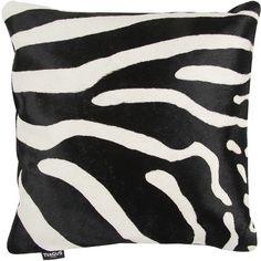 Amara Zebra Printed Cow Skin Cushion - Black/White - 45x45cm found on Polyvore