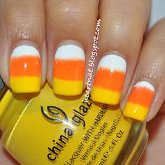 Candy corn #nails my sister would live this!!! Amanda Clark!