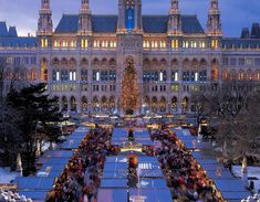 The Neo-Gothic Viennese City Hall building provides a magnificent backdrop for the Vienna Christmas Market.