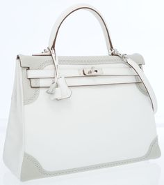 #Hermes #LimitedEdition 35cm White & Gris Perle Swift Leather Retourne Ghillies Kelly Bag with Palladium Hardware