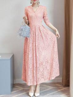Flash Sale Solid Color Lace Hollow Out Flare Sleeves Elegant Dresses Dress Brukat, Mom Dress, Maxi Wrap Dress, Lace Dress, Modest Dresses, Dresses With Sleeves, Maxi Dresses, Dress Outfits, Bridesmaid Dresses