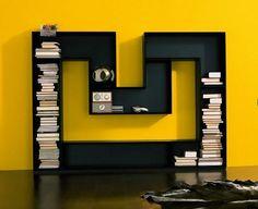 Design Ideas Modern Luxury House M Shaped Bookcase Furniture Design Creative Bookshelves, Modern Bookshelf, Bookshelf Design, Black Bookshelf, Bookshelf Ideas, Architecture Design, Home Interior, Interior Design, Bed Design