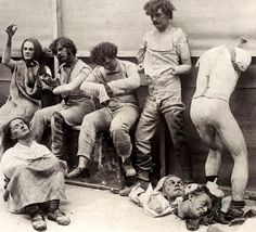 London 1930 Melted & damaged mannequins after fire at Madam Tussaud's wax museum. CREEEEPY   Looking