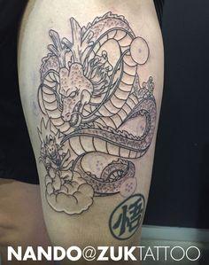 Tatuaje en proceso de Goku y el Dragon Shenron.