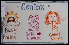 Center management...busy brains, safe choices, quiet voices (anchor chart)