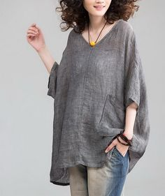 Heart Collar Loose Style Linen Tunic nice for just laying around in :)