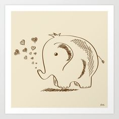 Baby Elephant Doodle Art Print by Texnotropio - X-Small Elephant Doodle, Baby Elephant, Baby Prints, Buy Frames, Doodle Art, Printing Process, Painted Rocks, Gallery Wall, Doodles