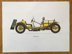 MERCER 1913 - antique classic car print -  original vintage lithograph printed in the 1960's by antiqueprintstore on Etsy