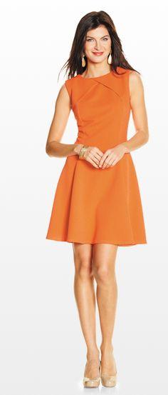 Sharagano Coral Inverted Neckline A-Line Dress