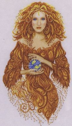 A fantasy picture of a lady in brown holding the earth in her hands.