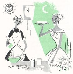 """vittles-parade: """" From Ten P.M. Cook Book, 1958. Drawings by Tye Gibson """""""