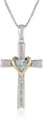 """Amazon.com: S&G Sterling Silver and 14k Gold Aquamarine Cross Pendant Necklace, 18"""": Jewelry"""