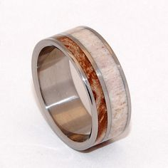Titanium Wedding Ring antler ring wooden by MinterandRichterDes