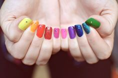 Rainbow fingernails.