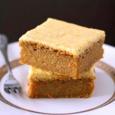Low-fat Carrot Cake Blondies with Orange Frosting - sugar free and only 180 calories!