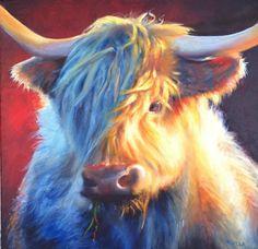Oil on canvas Scottie, Oil On Canvas, Cow, Animals, Scottie Dog, Animales, Animaux, Cattle, Animal