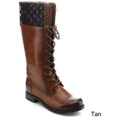 Betani Amber-6 Women's Lace Up Side Zip Knee High Combat Boots ($45) ❤ liked on Polyvore featuring shoes, boots, tan, lace up boots, knee length boots, knee high platform boots, knee-high lace-up boots and knee high military boots