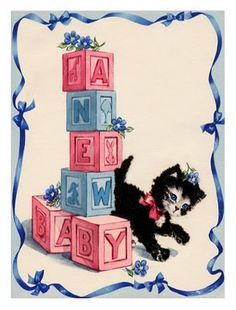 Vintage graphic Kitten and baby blocks
