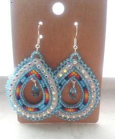 Native American Beaded Teardrop Earrings by CJBeadwork on Etsy, $35.00