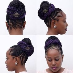 with a touch of colour - unaweza kuchagua kuwekewa addition any colour unayotaka - silver, white, maroon, . wewe tu - best styke of all time - book dial Braided Hairstyles For Black Women Cornrows, Protective Hairstyles For Natural Hair, Natural Hair Braids, African Braids Hairstyles, Black Girls Hairstyles, Ethnic Hairstyles, Braid Hairstyles, Braided Updo, Hairdos