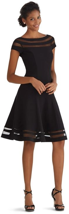 White House Black Market Illusion Stripe Fit & Flare Dress - little black dress