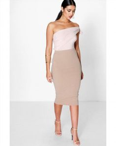 12.20$  Watch now - http://visjp.justgood.pw/vig/item.php?t=ahuefrx6940 - Boohoo Womens Astria Basic Scuba Sand Midi Skirt Size 10 US NWT