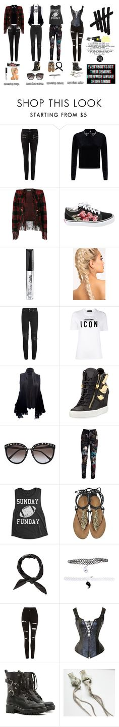"""""""Day one: Meeting the boys"""" by anjalenabvb ❤ liked on Polyvore featuring Paige Denim, Balmain, Vans, Rimmel, AMIRI, Dsquared2, Giuseppe Zanotti, Dolce&Gabbana, Roberto Cavalli and Hot Topic"""