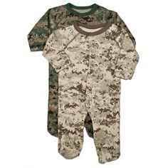 U S Marine Corps Camo Infant Baby Toddler Bulldog Crawler