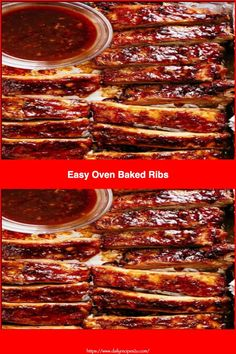 Ingredients: 2 racks baby back ribs spareribs, or St.Louis-style ribs 1 tablespoon smoked paprika 1 teaspoon salt 1 teaspoon black pepper 1 teaspoon onion powder 1 teaspoon garlic powder 1 teaspoon ground mustard 1 cup barbecue sauce #recipe #tasty #recipes #homemade Easy Oven Baked Ribs, Whats Gaby Cooking, Spare Ribs, Main Dishes, Veggies, Recipe Tasty, Stuffed Peppers, Homemade